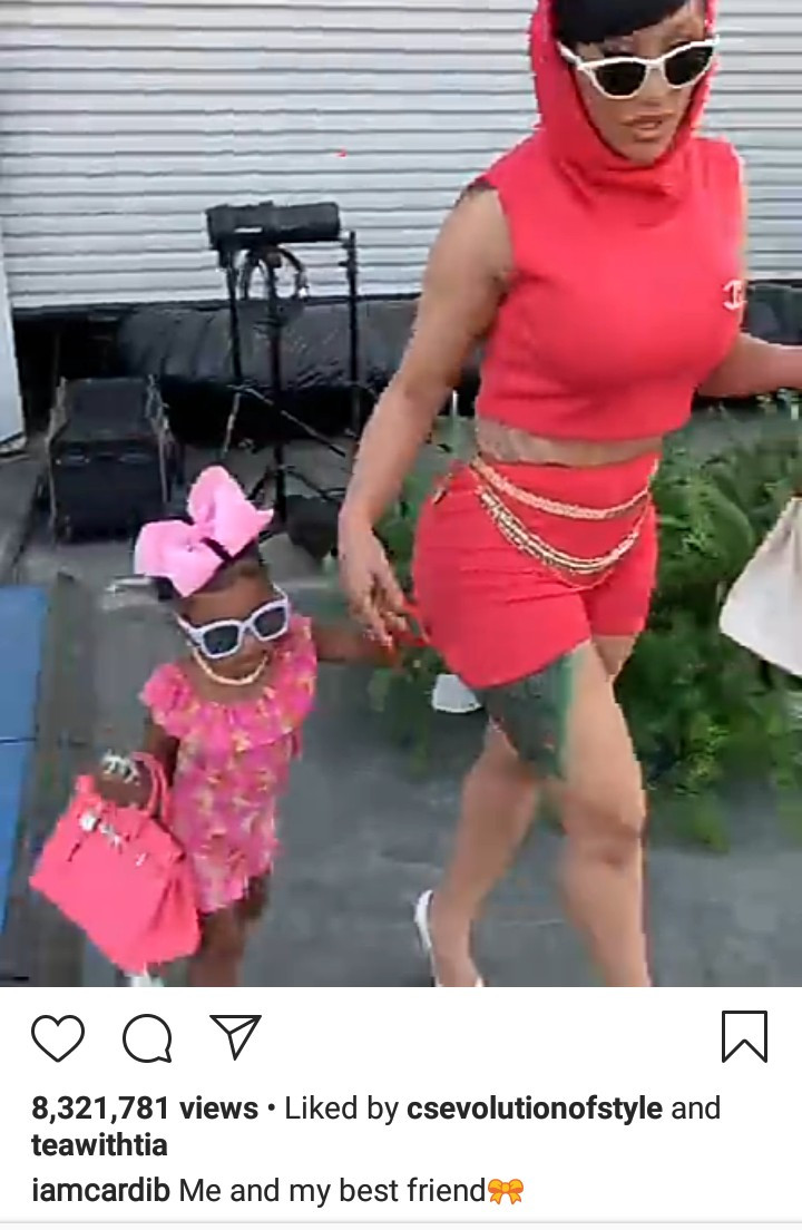 Cardi B and daughter Kulture step out in their pink Hermes bags