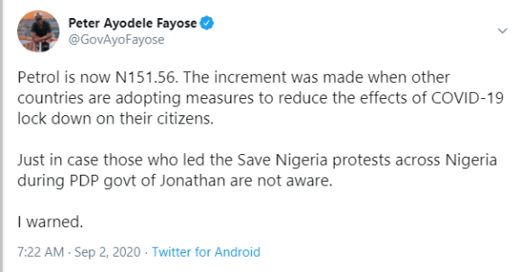 I warned Nigerians -  Fayose reacts as petrol price rises to N151.56 per litre