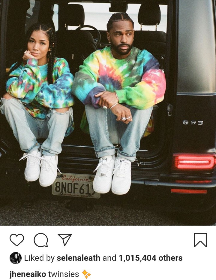 Jhene Aiko and Big Sean twin in matching outfits