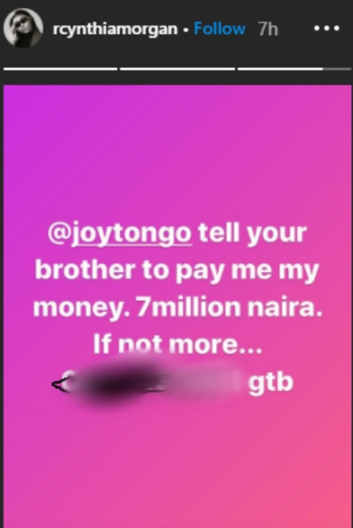 Jude Okoye should pay me the N7m he owes me - Cynthia Morgan calls out former boss again