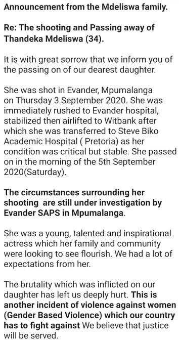 South African actress, Thandeka Mdeliswa shot dead
