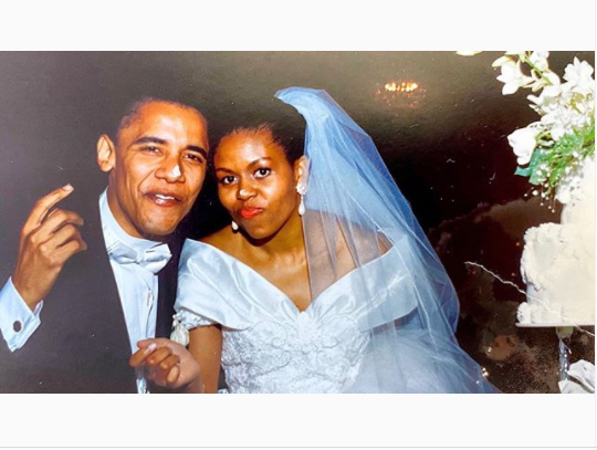 Michelle Obama reflects on her 22-year marriage to Barack as she shares a cute throwback photo from their wedding night