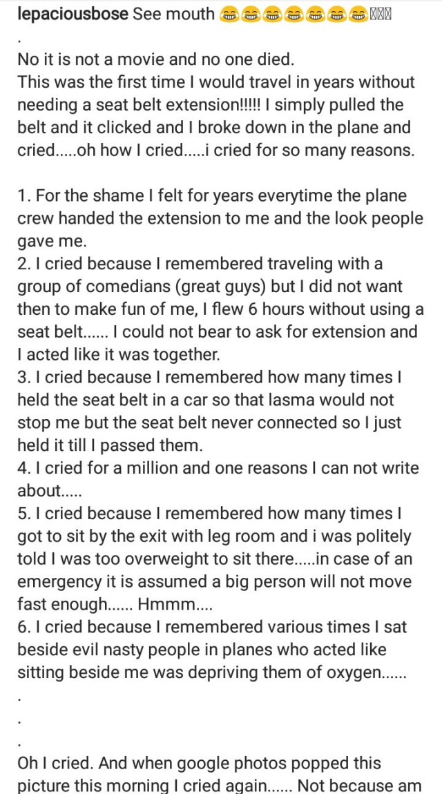 Lepacious Bose recounts breaking down on a plane after she lost weight and was finally able to travel without needing a seat belt extension