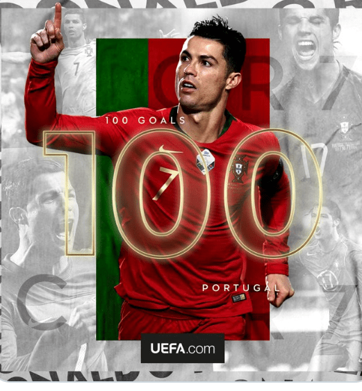 Cristiano Ronaldo becomes second male footballer in history to score 100 international goals (video)