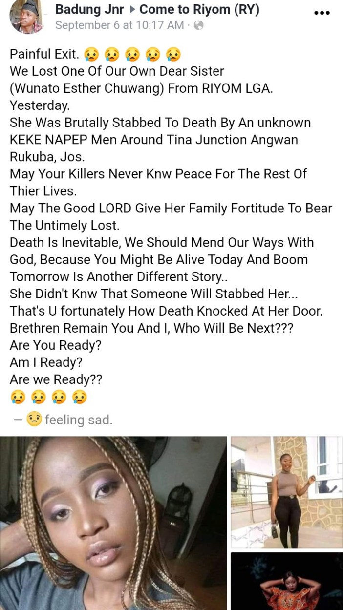 Woman stabbed to death in Jos one week after celebrating her birthday