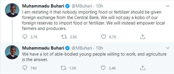 People importing food or fertilizer should not be given foreign exchange from the Central Bank - President Buhari