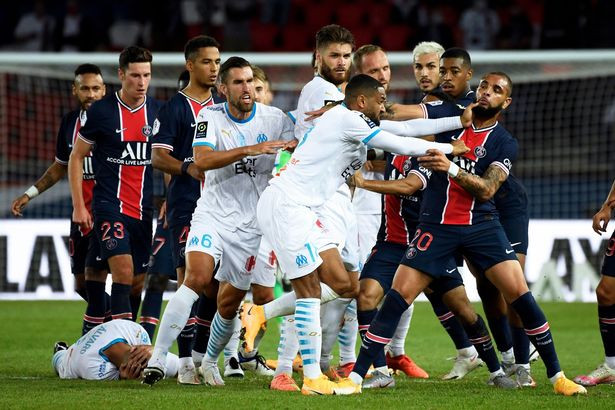 Neymar accuses Gonzalez of racism after getting red card for slapping the Marseille defender as PSG lose second straight game (photos)
