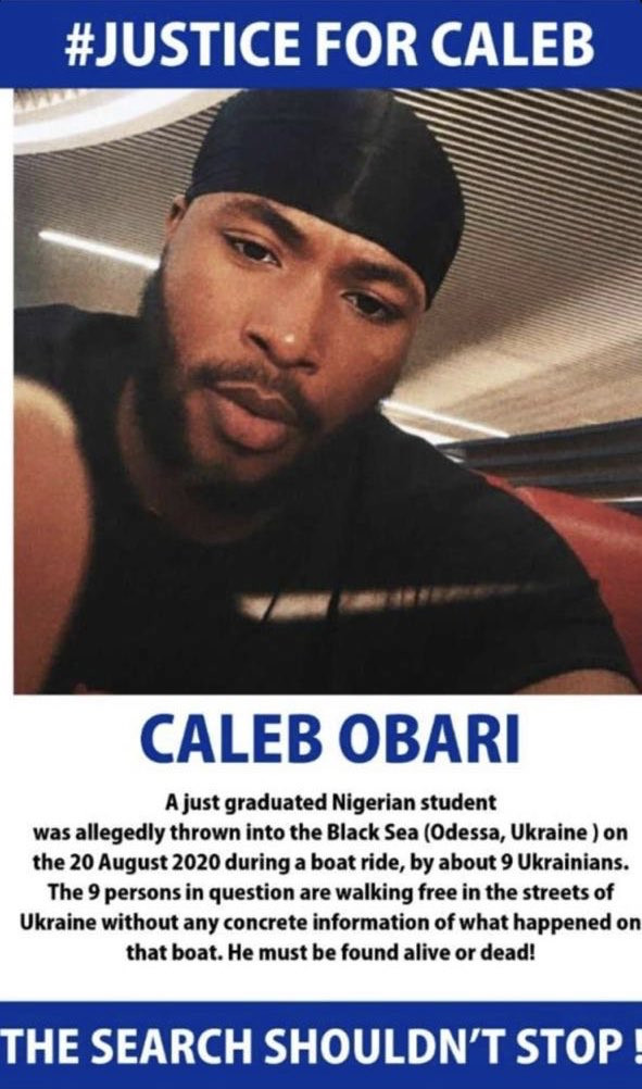 Missing Nigerian student, Caleb Obari found dead in Ukraine weeks after his parents issued plea to help find him