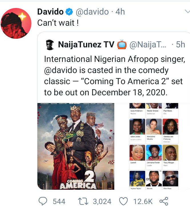 Davido to feature in