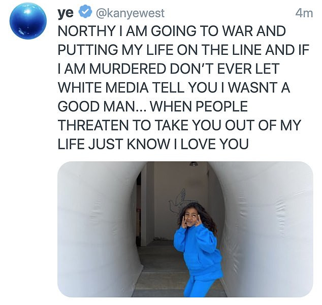 Kanye West shares disturbing tweet about getting murdered and having his eldest daughter, North taken away from him