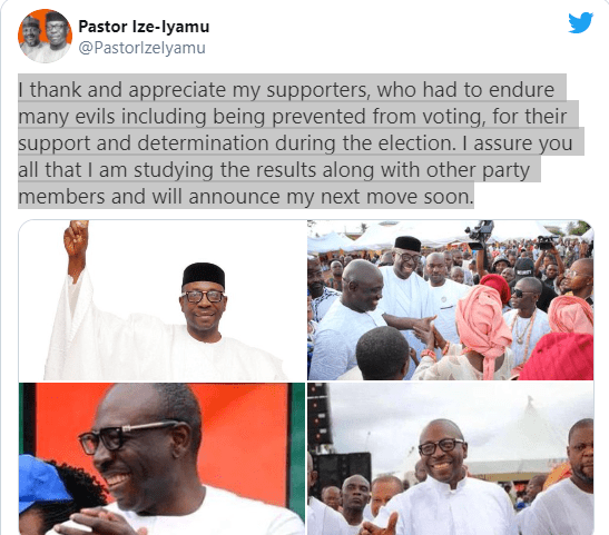 My supporters were prevented from voting - Ize-Iyamu reacts to loss at Edo governorship election