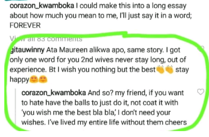 """""""If you want to hate, have the balls to just do it""""- Curvaceous Kenyan socialite, Corazon Kwamboka claps back at follower who said """"second wives never stay long"""""""