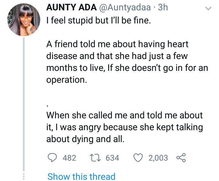 Twitter user explains how she found out her best friend duped her of N1million by lying she was dying of a heart disease