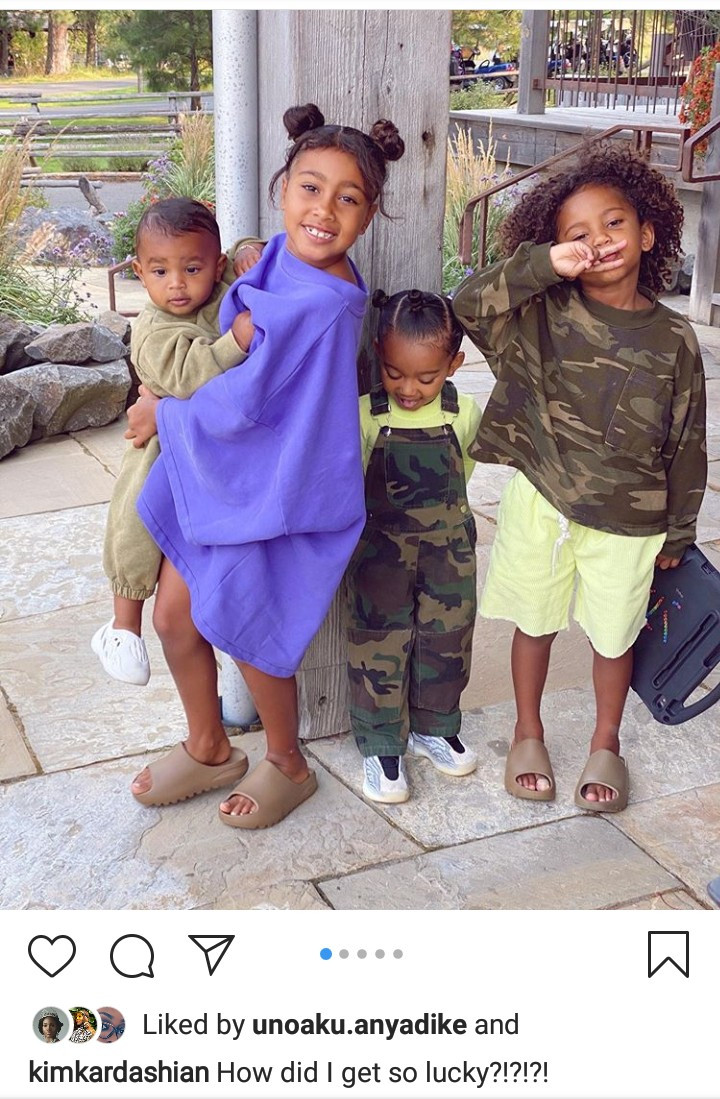 """How did I get so lucky?"" Kim Kardashian asks as she shares adorable photos of her husband and their kids"