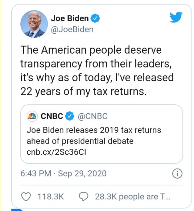 États-Unis 2020: Joe Biden publie ses déclarations de revenus quelques heures avant le débat présidentiel