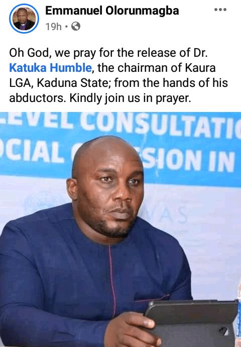 Gunmen kidnap Kaduna local govt chairman, kill motorcycle rider