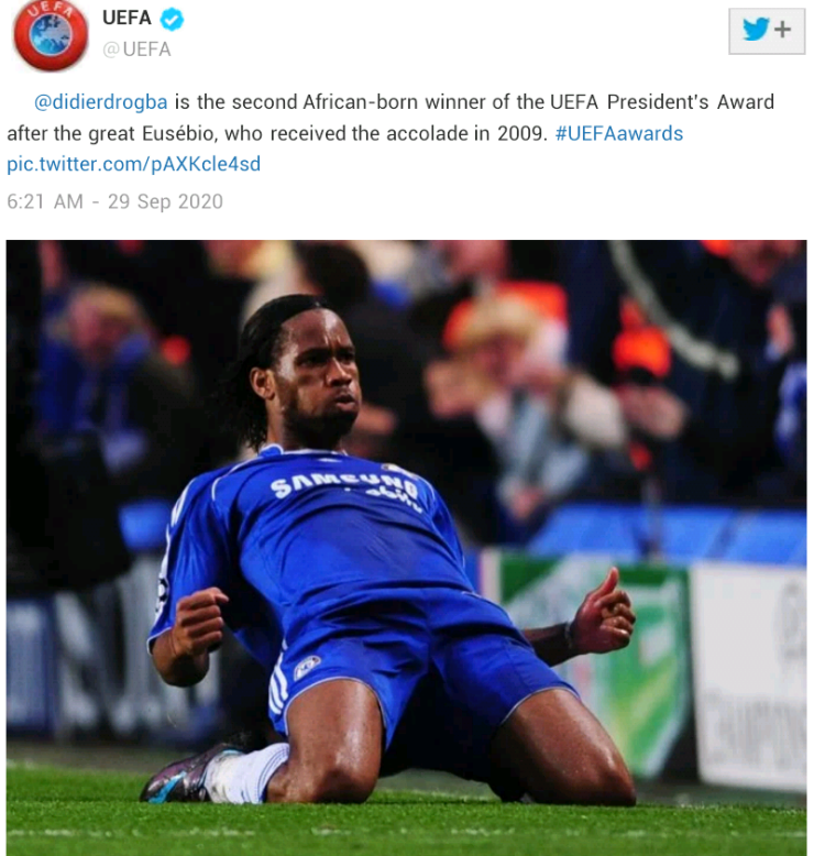 Former Chelsea star, Didier Drogba wins the 2020 UEFA President