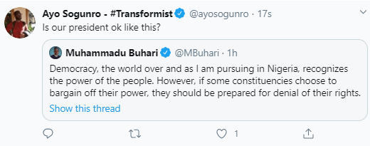 """This is rubbish"""" Nigerians react as President Buhari says in Independence  Day speech """"If some constituencies choose to bargain off their power, they  should be prepared for denial of their rights -"""
