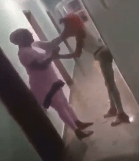 Nigerian mother disgraces her daughter after catching her in a hotel room with a man (video)