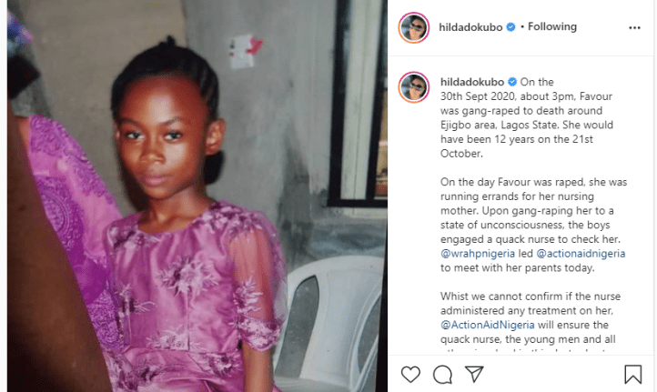 #JusticeforFavour:  13 year old girl allegedly raped to death in Lagos