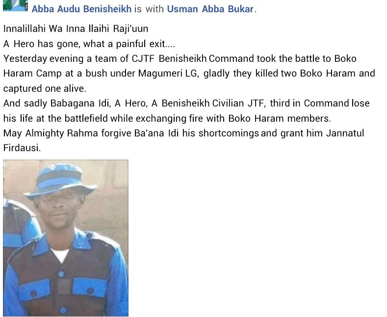 Civilian JTF member killed in gun battle with Boko Haram in Borno