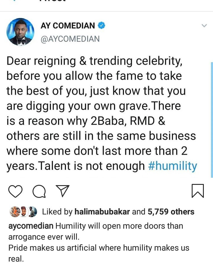 "AY Makun sends message to ""trending celebrities"" warning them of a disastrous mistake most of them make"