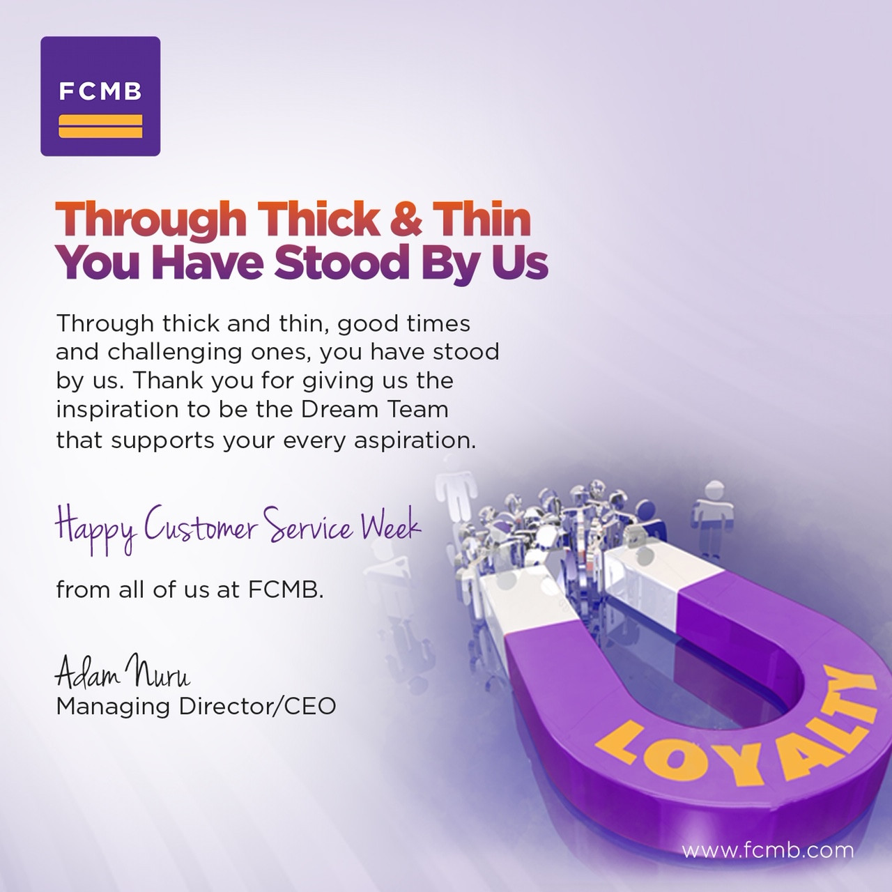 FCMB Celebrates the Spirit of Team work, Commits to Excellent Service