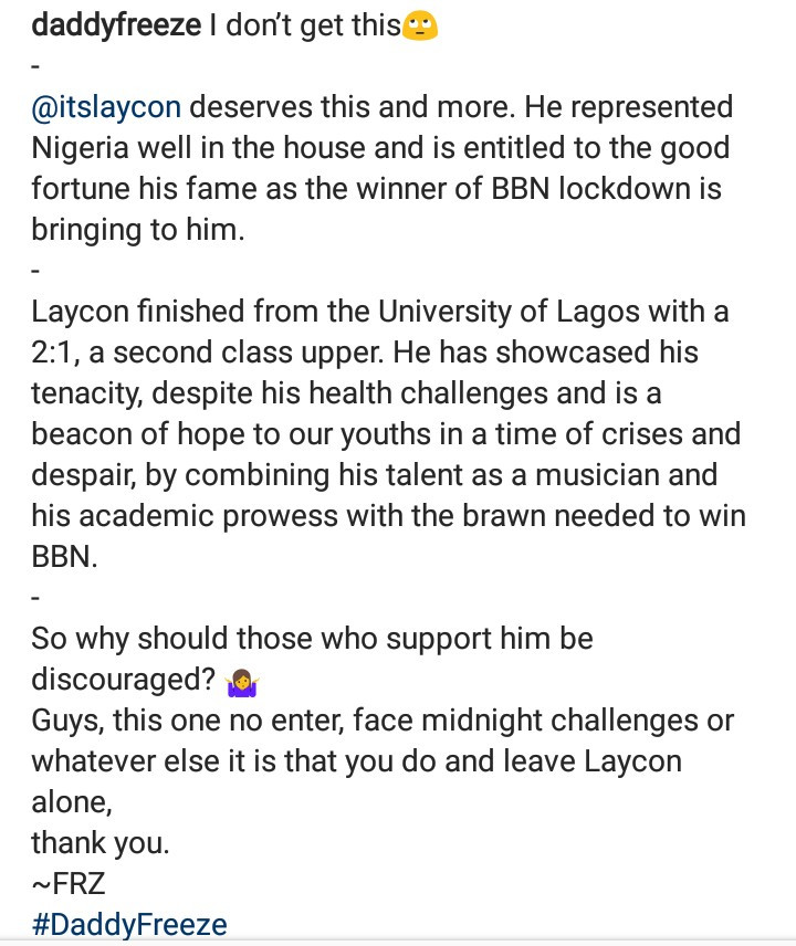 Daddy Freeze reacts after Nathaniel Bassey and Wale Adenuga criticized Ogun state governor for making Laycon a youth ambassador