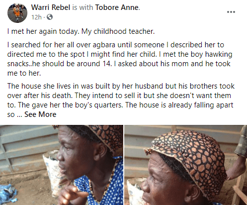 Nigerian lady narrates how she helped her primary school teacher she was avoiding after learning about the hardship she