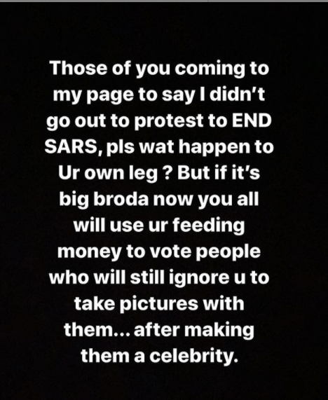 Bobrisky tackles Nigerians calling him out for not participating in the #EndSARS protest in Lagos