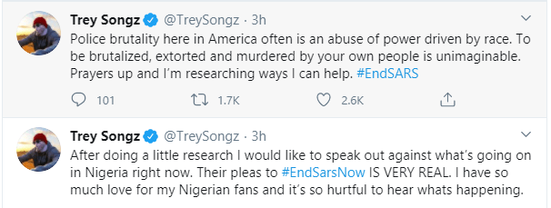 Trey Songz, Big Sean, Chance The Rapper, Estelle, Nasty C and other International celebrities react to the #EndSARS protest