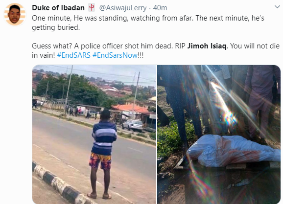 Nigerian man shot dead during #EndSARS protest in Oyo laid to rest (video)
