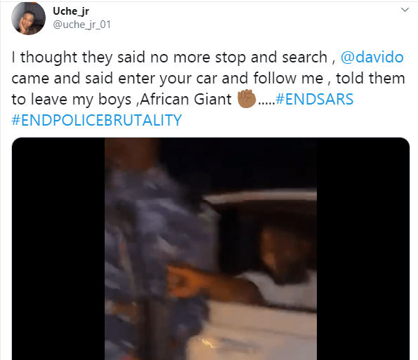 Davido stops policemen from searching a young Nigerian man (video)