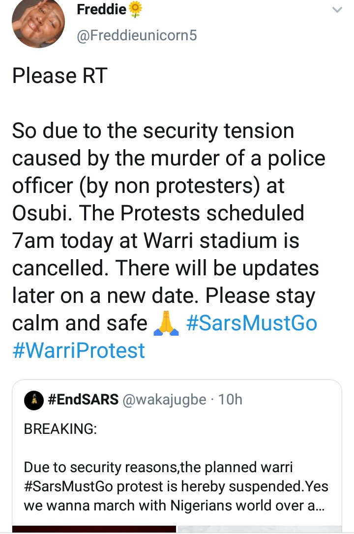 Woman stages lone end SARS protest under the rain in Warri