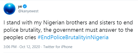 The government must answer to the peoples cries - Kanye West reacts to #EndSARS protests