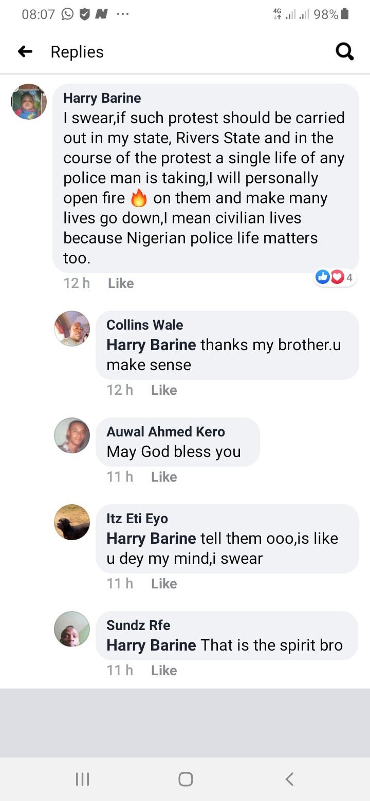 Alleged Facebook comments of policemen threatening to shoot #EndSARS protesters in Port Harcourt goes viral