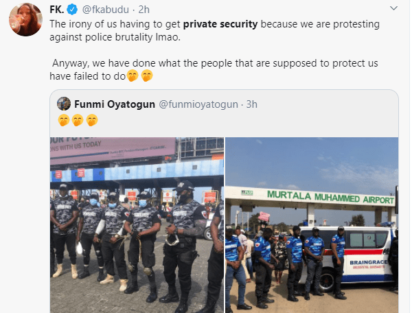 #EndSARS protesters hire private security to protect them against hoodlums