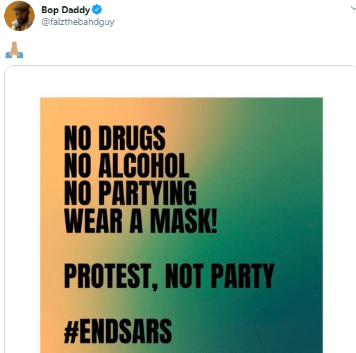 Protest not party - Falz tells #EndSARS protesters derailing from objective of the protest