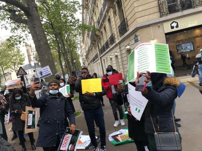Nigerians in France stage #EndSARS protest