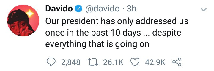 """""""Our president has only addressed us once in the past 10 days"""" Davido tackles Buhari"""