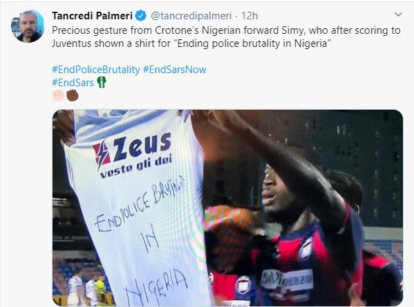 Nigerian striker, Simeon Nwankwo shows solidarity with #EndSARS protesters after scoring against Juventus
