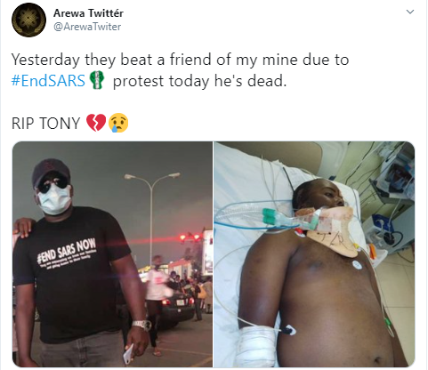 Twitter users mourn Nigerian man, Anthony Unuode, who died after he was allegedly stabbed by thugs during #EndSARS protest in Abuja