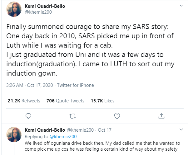 I still have PTSD from events of that day - Nigerian lady recounts how she was allegedly assaulted by SARS operatives in 2010