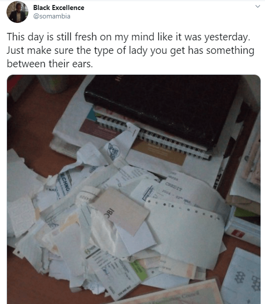 """""""Being a man is really tough"""" Businessman recounts how his ex tore all his certificates and documents after he chased her out of the house"""