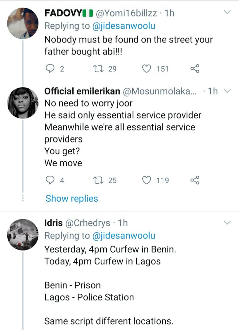Nigerians react as Governor Sanwo-Olu imposes 24-hour curfew on Lagos