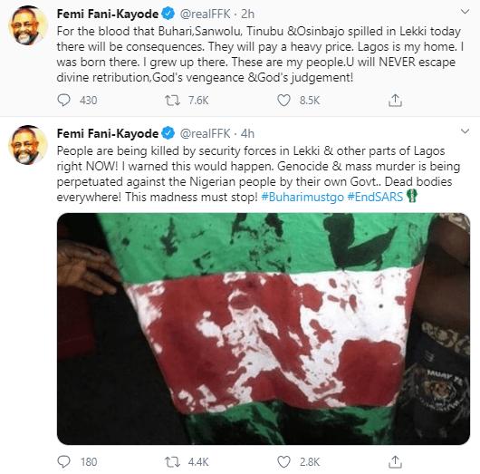 Femi Fani-Kayode blows hot following killing of #EndSARS protesters at Lekki Toll Gate