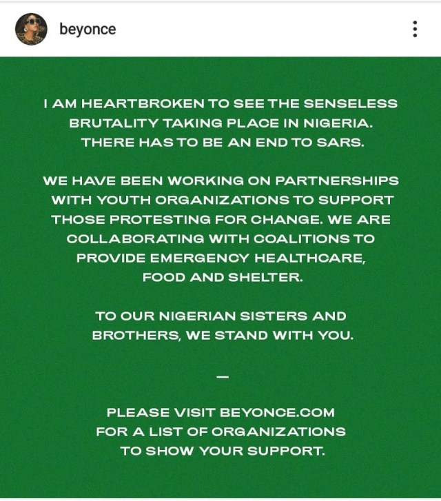 Beyonce condemns #EndSars Killings in Nigeria