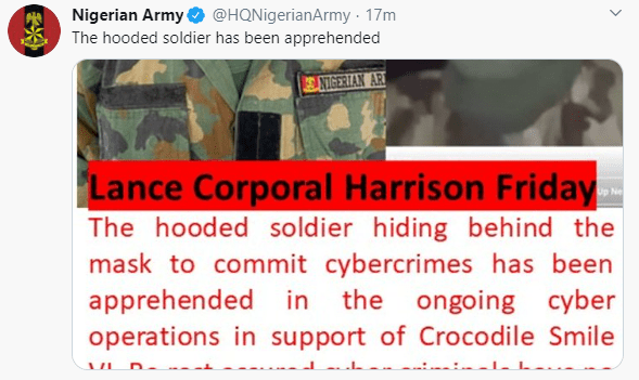 Nigerian Army says it has arrested the soldier who recorded a video begging his colleagues not to shoot at #EndSARS protesters