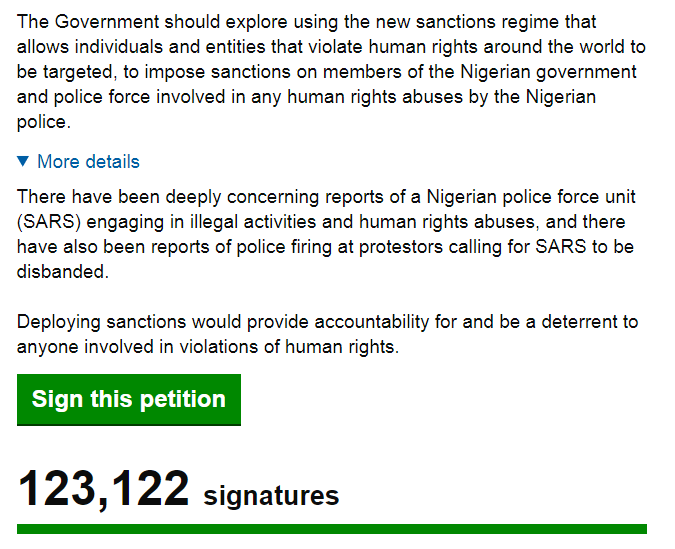 Over 120,000 people sign petition for the UK government to sanction the Nigerian Government over alleged human right abuses