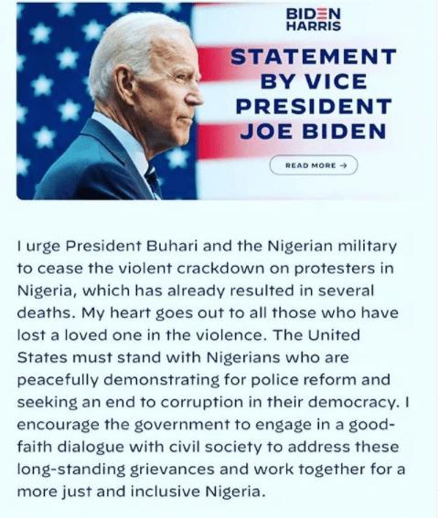 Cesser les violentes répressions contre les manifestants - Le candidat à la présidence américaine, Joe Biden, a déclaré à Buhari